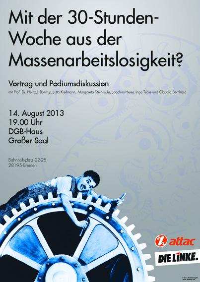 Plakat von attac und DIE LINKE. Bremen über Arbeitszeitreduktion