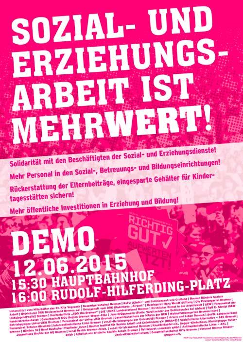 Plakat und Flyer: Soli-Demo für Streiks in Sozial- und Erziehungsberufen